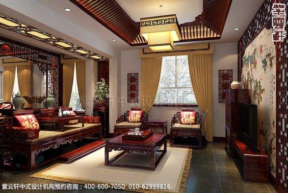 简约古典中式别墅装修案例,中式起居室装修图