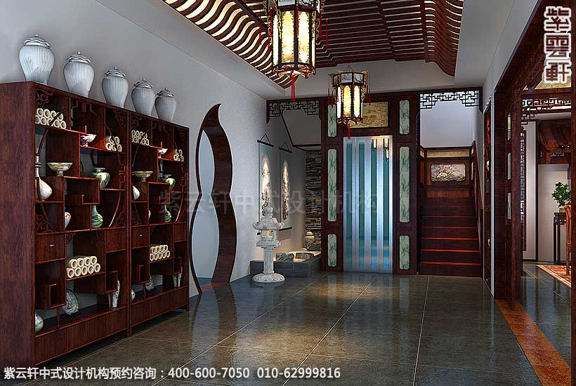 简约古典中式别墅装修案例,过道中式设计图_紫云轩