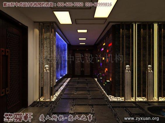 新中式风格高端商务会所设计案例,中式会所走廊装修图