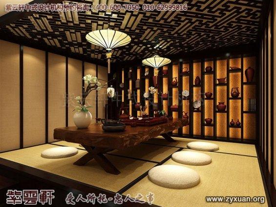 新中式风格高端商务会所设计案例,会所茶室中式设计图