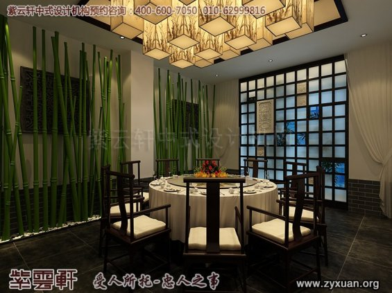 新中式风格高端商务会所设计案例,会所餐饮小包间中式设计图
