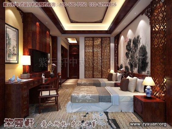 新中式风格高端商务会所设计案例,会所标间房中式设计图