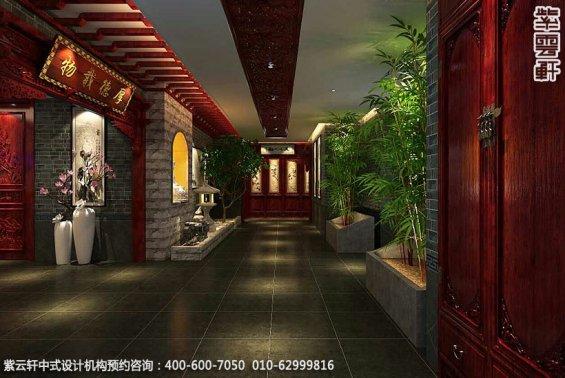 私人艺术会所古典中式装修效果图,会所门厅中式设计图
