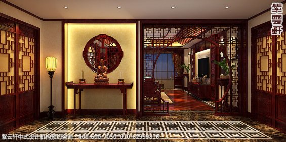 古典中式装修北京大宅精装改造案例赏析,住宅门厅玄关中式设计图