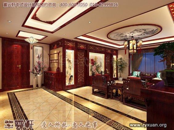 天津书画家古典中式装修设计精品住宅,住宅客厅中式设计图