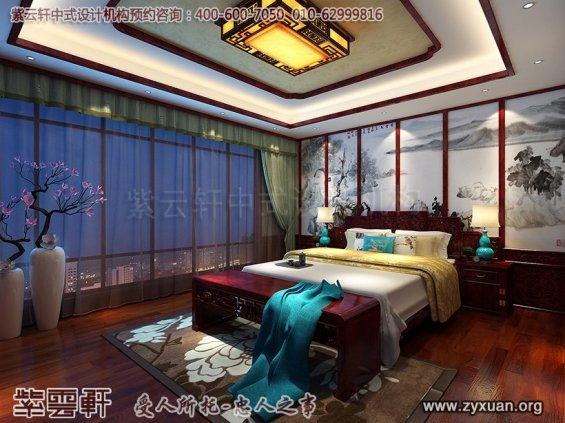 天津书画家古典中式装修设计精品住宅,中式住宅主卧设计图