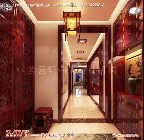 天津武清现代中式风格别墅装修效果图,玄关中式设计图