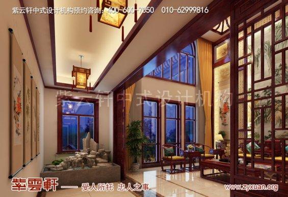 天津武清现代中式风格别墅装修效果图,走廊中式设计图
