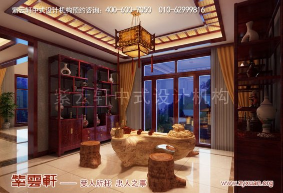 天津武清现代中式风格别墅装修效果图,茶室中式设计图