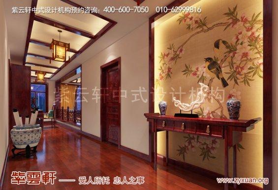 天津武清现代中式风格别墅装修效果图,二层走廊中式装修图
