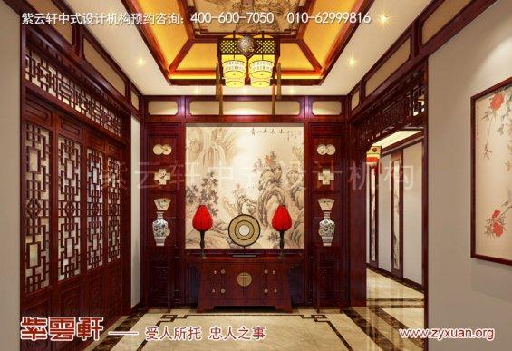 山东复古新中式大宅室内装修效果图,门厅中式设计