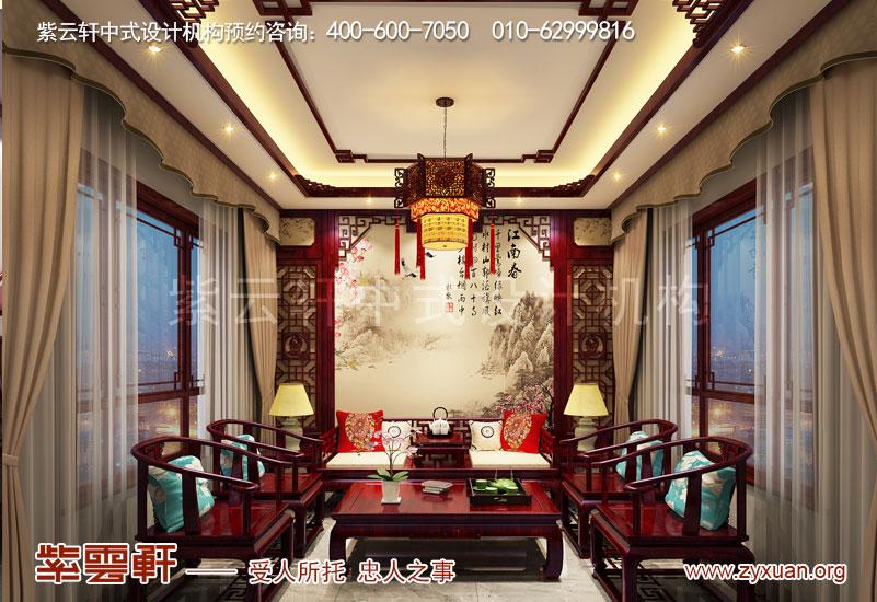 山东复古新中式大宅室内装修效果图,客厅中式设计图