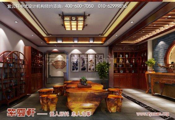 山东复古新中式大宅室内装修效果图,茶室中式装修