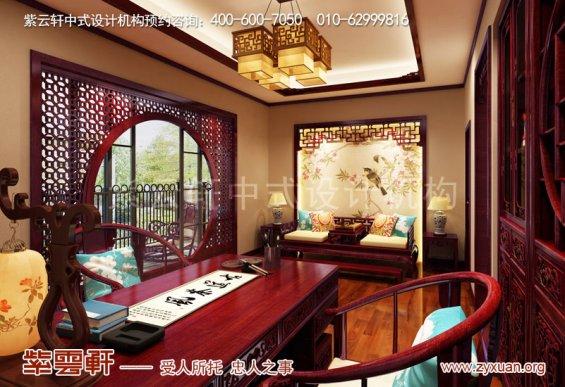 山东复古新中式大宅室内装修效果图,书房中式装修
