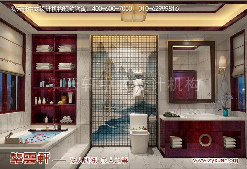 山东复古新中式大宅室内装修效果图,卫生间中式设计图