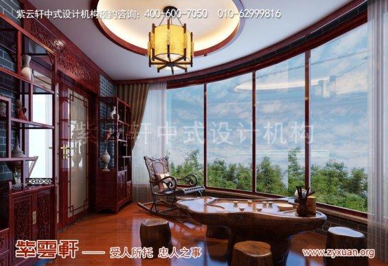 山东复古新中式大宅室内装修效果图,阳台中式装修图