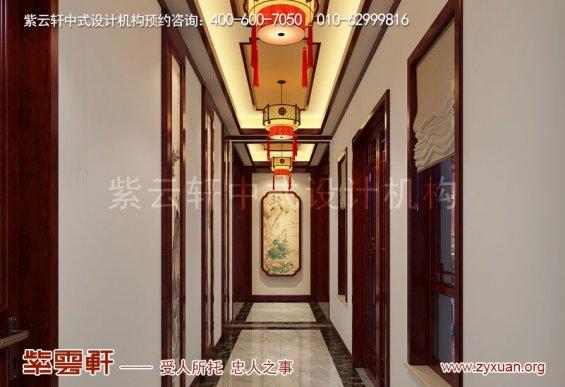 山东复古新中式大宅室内装修效果图,走廊过道中式装修