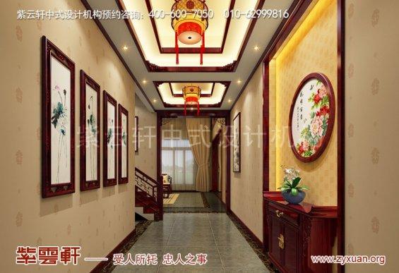 邢台复古新中式风格别墅装修效果图,入户玄关中式设计