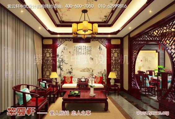 邢台复古新中式风格别墅装修效果图,起居室中式装修图