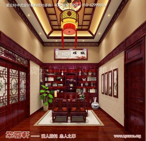 邢台复古新中式风格别墅装修效果图,书房中式设计图