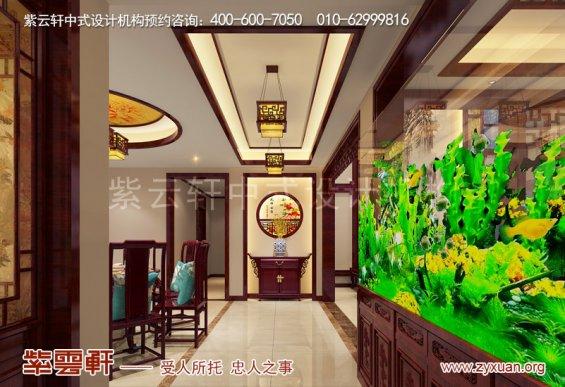 西安白桦林间独栋别墅现代中式装修效果图,入户玄关中式装修
