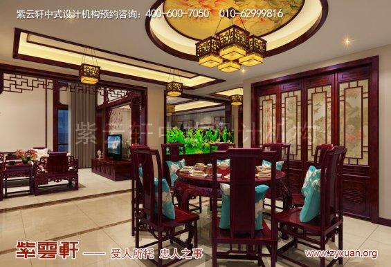 西安白桦林间独栋别墅现代中式装修效果图,餐厅中式设计图
