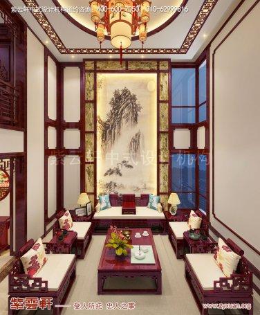 西安白桦林间独栋别墅现代中式装修效果图,客厅中式装修图