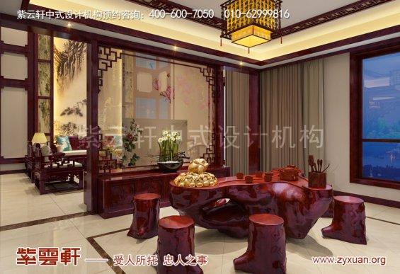 西安白桦林间独栋别墅现代中式装修效果图,茶室中式设计图