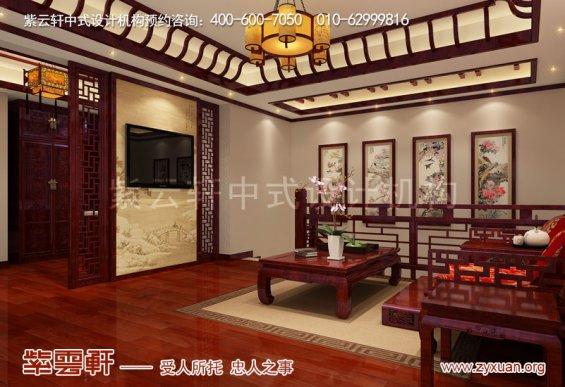西安白桦林间独栋别墅现代中式装修效果图,起居室中式装修