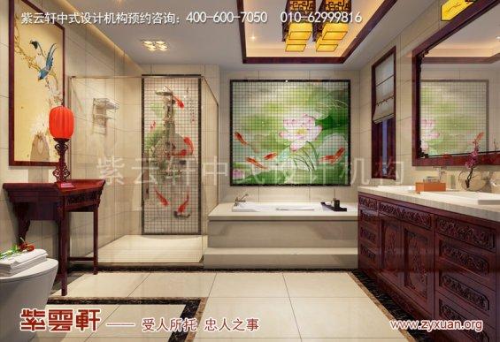 西安白桦林间独栋别墅现代中式装修效果图,卫生间中式设计图