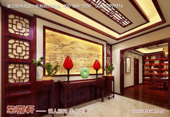 西安现代中式风格别墅装修效果图,入户门厅中式装修图