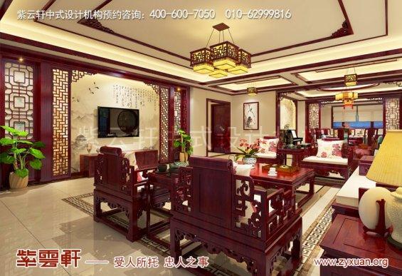 西安现代中式风格别墅装修效果图,客厅中式装修图