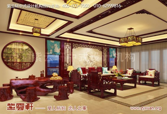 西安现代中式风格别墅装修效果图,茶区中式装修图