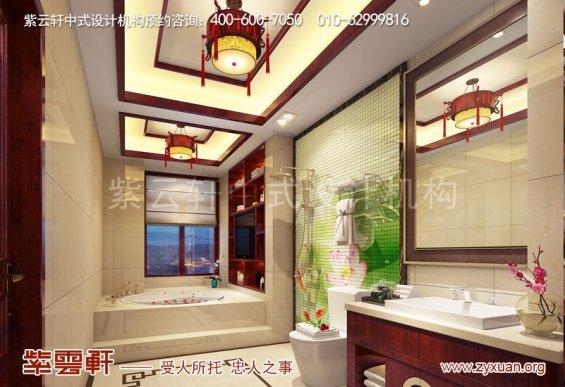 西安现代中式风格别墅装修效果图,卫生间中式装修