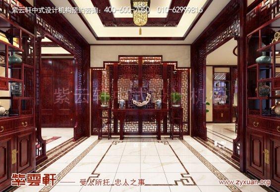 赤峰刘总800平古典中式别墅装修效果图,玄关中式设计图