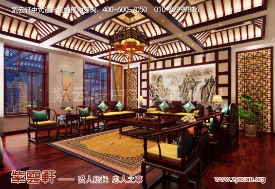 赤峰刘总800平古典中式别墅装修效果图,客厅中式装修图