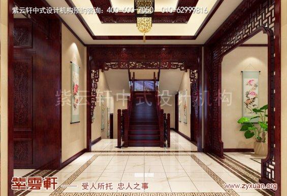 赤峰刘总800平古典中式别墅装修效果图,楼梯间中式设计