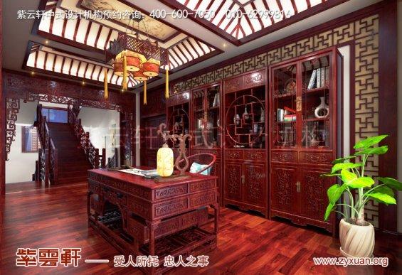 赤峰刘总800平古典中式别墅装修效果图,书房中式设计