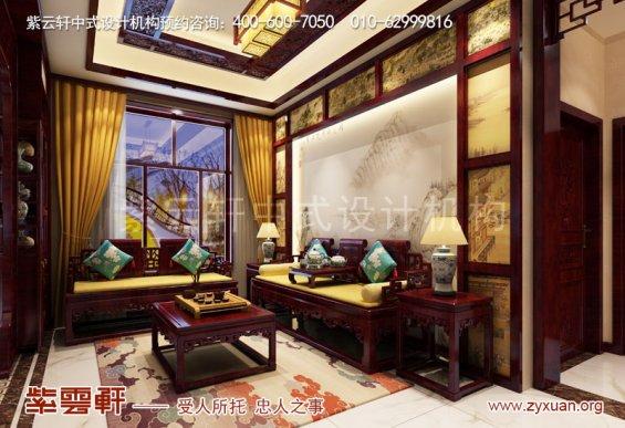 赤峰刘总800平古典中式别墅装修效果图,起居室中式设计图