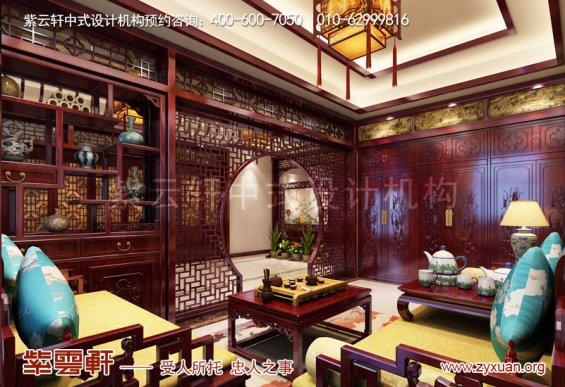 赤峰楼王1500平豪宅庄园,休息室复古中式装修
