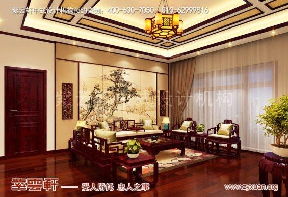 赤峰楼王1500平豪宅庄园,起居室复古中式装修风格