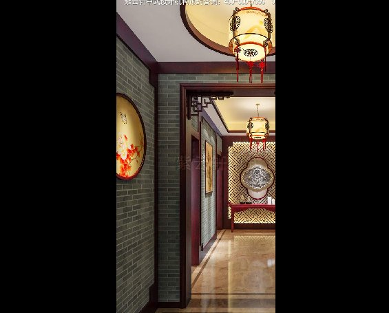 常州别墅现代中式效果图赏析,门厅中式装修效果图