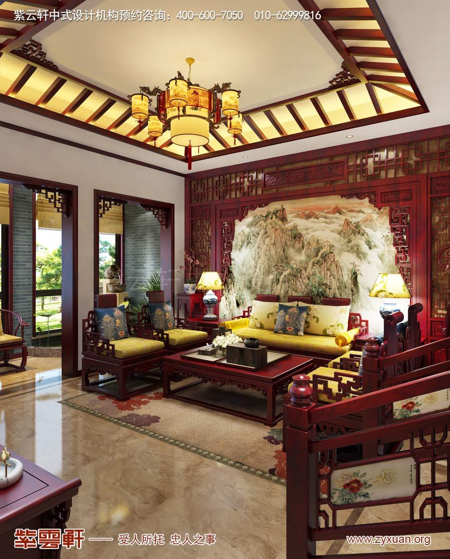 常州别墅现代中式效果图赏析,客厅中式装修效果图