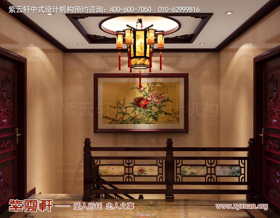 装修效果图,楼梯间中式设计         哈尔滨复式洋房现代中式风格装修