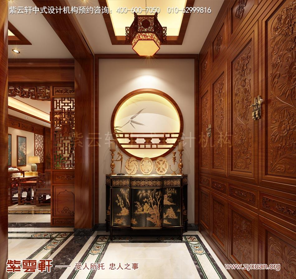哈尔滨简约中式风格平层大宅改造装修效果图赏析,玄关中式设计
