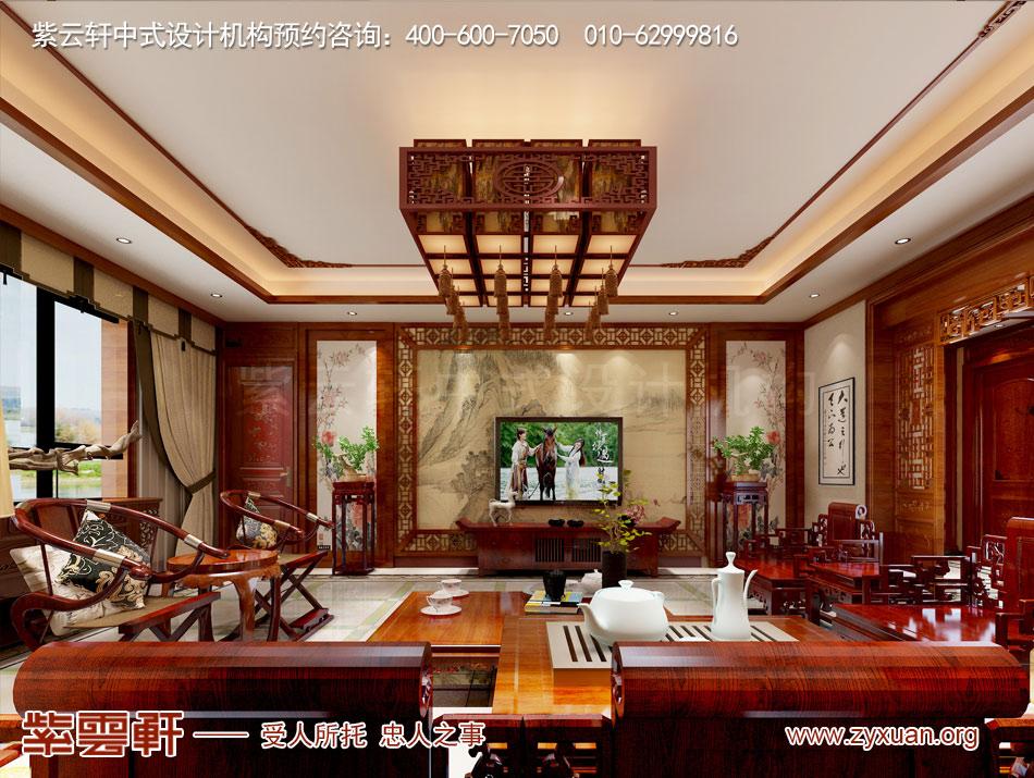 哈尔滨简约中式风格平层大宅改造装修效果图赏析,客厅简约中式装