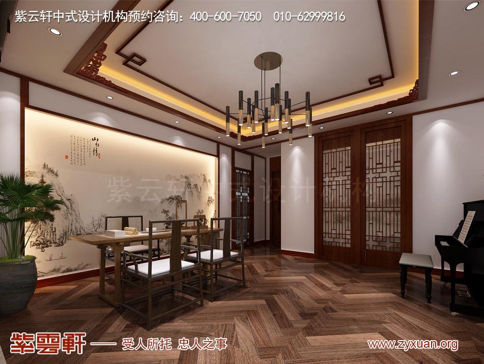 哈尔滨简约中式风格平层大宅改造装修效果图赏析,茶室中式设计