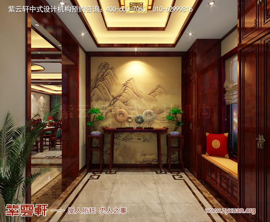 济南别墅现代中式风格效果图,玄关现代中式风格效果图