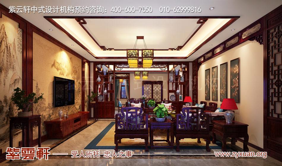 济南别墅现代中式风格效果图,别墅客厅现代中式风格效果图