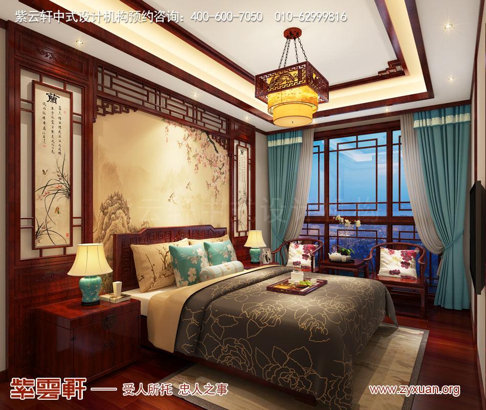 济南别墅现代中式风格效果图,别墅老人房现代中式风格效果图